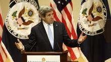 Secretary of State John Kerry gestures as he delivers his first foreign policy speech, Wednesday, Feb. 20, 2013, in Old Cabel Hall at the University of Virginia in Charlottesville, Va. Kerry said the greatest challenge to U.S. foreign policy is not emerging China or Middle East instability. It's Congress. (Steve Helber/AP)