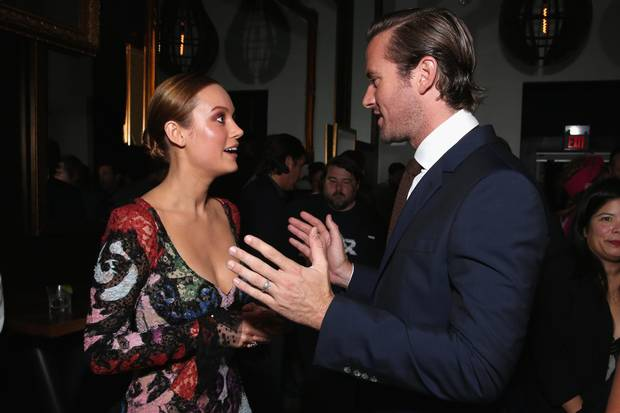 Actors Brie Larson and Armie Hammer attend the