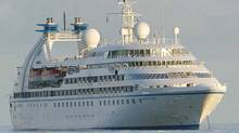 Seabourn Sprint at anchor in deep waters off Mahe in the Seychelles Monday, Nov. 7, 2005. The Seabourn Sprint is operated by a subsidiary of Carnival Corp., which saw its profits plunge dramatically. (AP Photo)