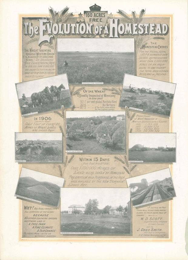 Another ad in the 1908 Christmas magazine extols the fertility and output of western farmland. 'No other country offers anything like it: A free farm, a fine climate, a fair chance to every man – with or without capital.'