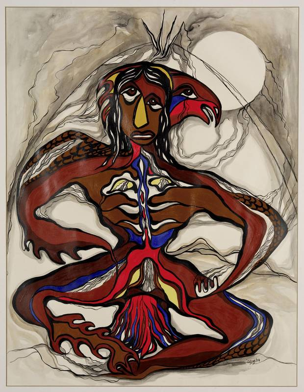 Thunderbird Man by Daphne Odjig, Wikwemikong First Nation, Manitoulin Island, Ont. This painting depicts the transformation that allowed a young man to live with Thunderbird Woman.