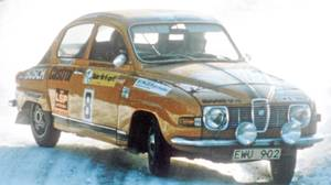 Per Eklund drives a Saab 96 V4 in a Swedish rally in the 1970s.