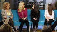 Kate Gosselin and her daughters Mady and Cara appear on The View. (JEFF NEIRA/ABC)