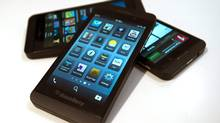 The Waterloo, Ont.-based company, which spent much of the quarter rolling out its BlackBerry Z10 in the United Kingdom, Canada and elsewhere, said it shipped about one million of the smartphones during the reporting period. (Frank Gunn/THE CANADIAN PRESS)