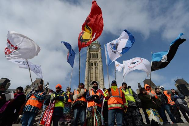 A group of First Nations adults and youth finish a spiritual journey from Attawapiskat First Nation to Parliament Hill on Feb. 24, 2014.