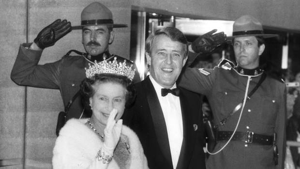 The Queen meets with prime minister Brian Mulroney on a visit to Toronto on Oct. 1, 1984.