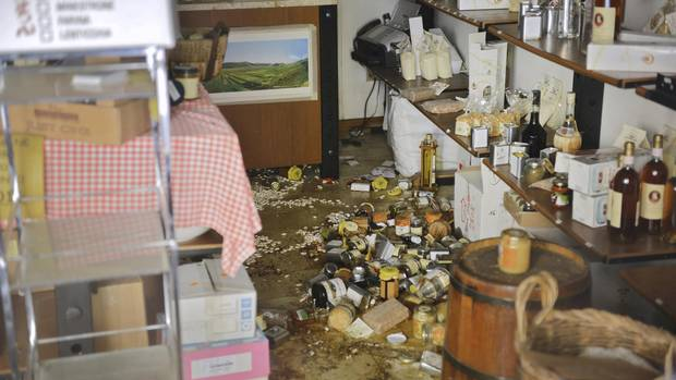 The inside of a store on the high street of Norcia, Italy devastated by earthquakes in August and October.