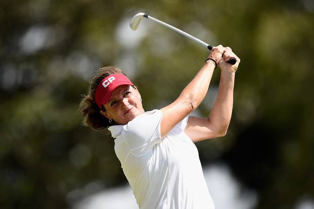 Lorie Kane of Canada hits her tee shot on the 8th hole during day one of the 2015 Ladies Masters at Royal Pines Resort on February 12, 2015 on the Gold Coast, Australia.