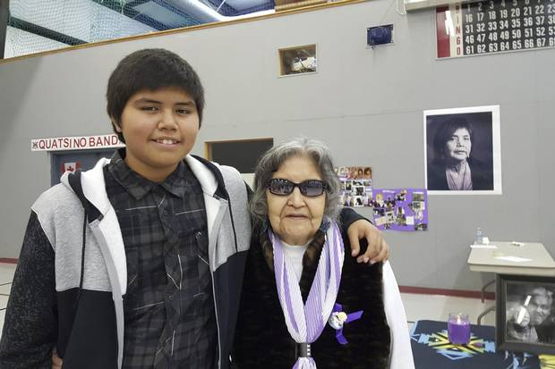 Darryl Stauffer Junior, Angeline Pete's son, with his great-grandmother, Eileen Nelson, at funeral service for Molly Dixon. Molly was Angeline's mom and Darryl Jr.' s grandmother.