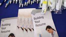 Free pens and resume building pamphlets are displayed during the Job Hunter's Boot Camp at College of San Mateo on June 7, 2011 in San Mateo, California. (Justin Sullivan/Getty Images)