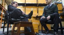 Federal Finance Minister Jim Flaherty was in Toronto on Feb. 7, 2014, to get a new pair of shoes from Andrew Violi, president of Mellow Walk. (Peter Power/The Globe and Mail)