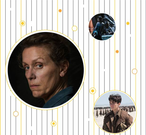 Scenes from the Oscar-nominated films Three Billboards Outside Ebbing, Missouri, The Shape of Water and Dunkirk.