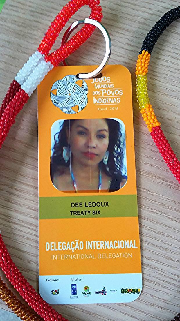 Deanna Ledoux's participant badge for the World Indigenous Games.