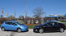 The Nissan Leaf and the Chevrolet Volt. (Michael Bettencourt/Michael Bettencourt for The Globe and Mail)