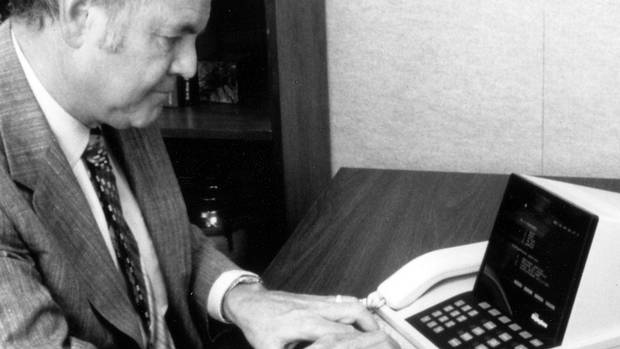 A man operates a Northern Telecom Displayphone in this undated handout photo. c. early 1980s.