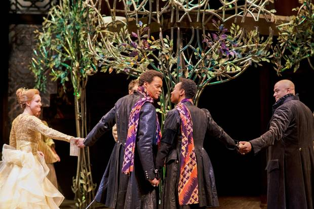 Shannon Taylor as Olivia, Michael Blake as Sebastian, Sarah Afful as Viola and E.B. Smith as Orsino in Twelfth Night.