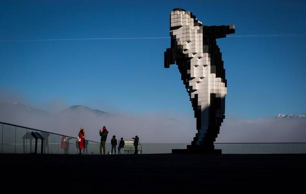 Digital Orca, created by Douglas Coupland, is among the other statement pieces in Vancouver's public art scene. A city levy on developers to pay for art ensures more works will get funded and created.