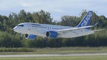 Bombardier's C-Series commercial jet takes off on its first flight on Monday, Sept. 16, 2013 in Montreal. (Ryan Remiorz/THE CANADIAN PRESS)