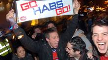 Canadiens fans in Montreal rejoice after the Habs' victory against Washington. (John Morstad/John Morstad for The Globe and Mail)