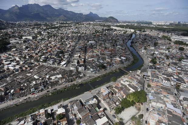 Aerial view of Rio das Pedras favela with The Rio das Pedras (Rocks river) in the middle.