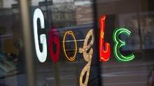 Google signage at the company's offices in New York. (Andrew Kelly/Reuters)