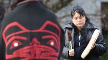 In 2007, Mary Jacobs drums during a native prayer circle outside the court house while a sentencing hearing for convicted murderer Robert Pickton was being held in New Westminster. (John Lehmann/The Globe and Mail/John Lehmann/The Globe and Mail)