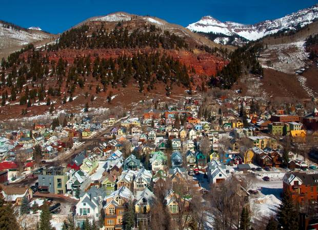 Telluride's downtown has been on the National Historic Register since 1961, with its false-fronted, big-windowed commercial buildings on the broad main street, and colourful, fish-tiled Victorians off it.