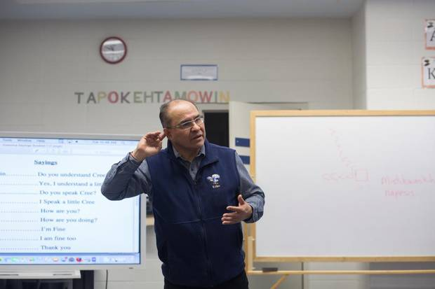 Stephen Wood teaches his Cree language class at Ermineskin Junior Senior High School in Maskwacis, Alta.