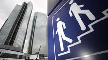 The headquarters of Deutsche Bank are pictured next to a pictograph in Frankfurt July 23, 2010. (RALPH ORLOWSKI/REUTERS)