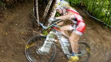 Canada's Catharine Pendrel is shown in action on Sept. 4, 2010., on Mont-Sainte-Anne, in Beaupre, Que. Pendrel finished third during Saturday's World Cup race in South Africa. THE CANADIAN PRESS/Sean Kilpatrick (Sean Kilpatrick/CP)
