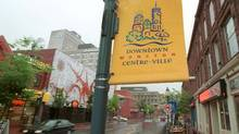A sign in English and French in the city of Moncton, N.B. (Sandor Fizli/The Globe and Mail)