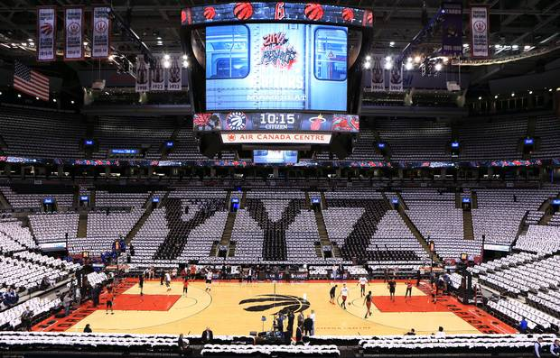 General view of the Air Canada Centre prior to Game Five of the Eastern Conference Semifinals between the Miami Heat and the Toronto Raptors during the 2016 NBA Playoffs on May 11, 2016 in Toronto, Ontario, Canada.