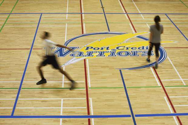 Port Credit Secondary School will be losing this logo at its gym's centre court.