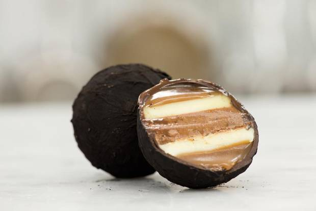 BETA5 Chocolates' Lump of Coal is a delicious blend of dark rum caramel, eggnog ganache and spiced praline in a dark chocolate shell.