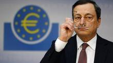 Mario Draghi, president of the European Central Bank, addresses the media during his monthly news conference in Frankfurt in this Jan. 10, 2013, file photo. (Kai Pfaffenbach/Reuters)