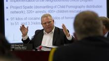 Councillor Doug Ford has accused Chief Bill Blair of a vendetta against his brother because of cuts to the police budget. (Fernando Morales/The Globe and Mail)