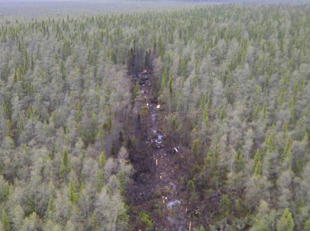 Aerial view of the Ornge helicopter accident site in Moosonee, Ontario