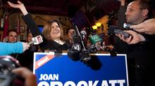 Calgary Centre Conservative candidate Joan Crockatt speaks to supporters following her win on Nov. 26, 2012. (Jeff McIntosh/THE CANADIAN PRESS)