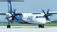 Bombardier's Q400 aircraft in this undated handout photo. European plane maker ATR has beat out Bombardier Inc. on an important turboprop order from an Indonesian airline. (Handout via Bombardier)