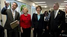 From left: B.C. NDP Leader Adrian Dix, Green Party Leader Jane Sterk, B.C. Liberal Leader Christy Clark and B.C. Conservative Leader John Cummins pose for a photo prior to a radio debate in Vancouver on April 26, 2013. (Jonathan Hayward/The Canadian Press)