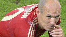 Bayern's Arjen Robben reacts at the end of the extra times during the Champions League final soccer match between Bayern Munich and Chelsea in Munich, Germany Saturday May 19, 2012. (AP Photo/Kerstin Joensson) (Kerstin Joensson/AP)