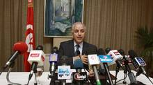 Tunisia's central bank governor Mustapha Kamel Nabli addresses a news conference at the Central Bank in Tunis July 6, 2012. (ZOUBEIR SOUISSI/REUTERS)