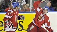 Czech Republic forward Tomas Hertl, right, celebrates his goal with teammate Marek Hrbas during first period IIHF World Junior Championships hockey action in Edmonton, on Tuesday, Dec. 27, 2011. (Nathan Denette/The Canadian Press/Nathan Denette/The Canadian Press)