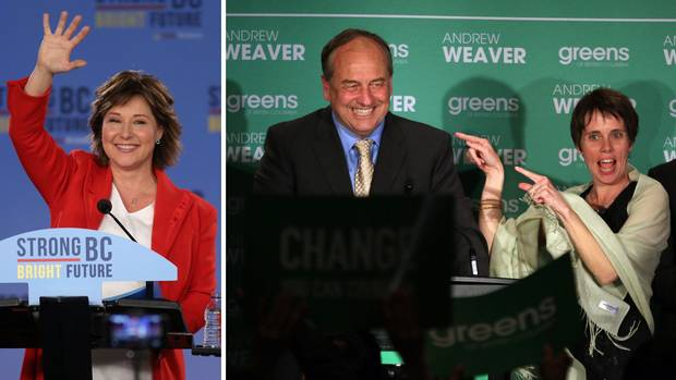 Christy Clark, shown at left on election night, will get the first chance to form a government. But Green Party Leader Andrew Weaver – shown at right with Sonia Furstenau, who won the Cowichan Valley riding for the Greens – has a role to play in whether Ms. Clark's government lives or dies.