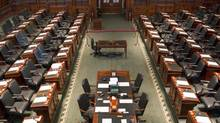 Ontario's legislature stands empty on Tuesday after Premier Dalton McGuinty prorogued the house Monday. (CHRIS YOUNG/THE CANADIAN PRESS)