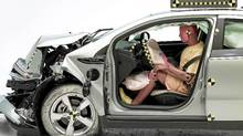 A front-end crash test of the 2011 Chevrolet Volt. The Chevrolet Volt and Nissan Leaf got top safety ratings in some of the first-ever tests of plug-in cars by the Insurance Institute for Highway Safety. (AP Photo/Insurance Institute for Highway Safety)