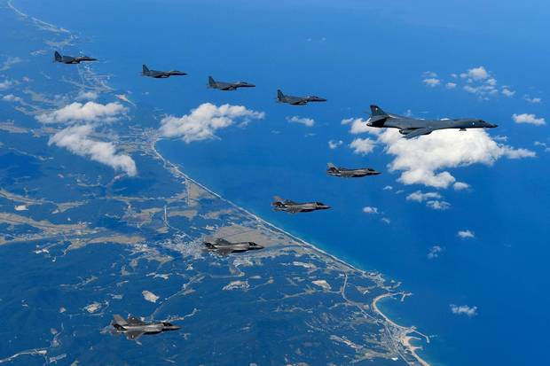 Sept. 18, 2017: U.S. Air Force B-1B Lancer bombers fly with F-35B fighter jets and South Korean Air Force F-15K fighter jets during training in Gangwon-do, South Korea. Last month, the U.S. and South Korea held their largest-ever joint aerial drills amid tensions on the Korean Peninsula. If the Americans wanted to attack North Korea first, its first objective would be to bomb the northern side of the demilitarized zone to disrupt the North's rockets, artillery and tanks.