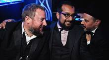 L-R Shane Smith (Vice Founder), Suroosh Alvi (Vice Founder), and Eddy Moretti (Executive Creative Director of Vice) at the Vice Holiday Party 2010 (Bryan Derballa/Bryan Derballa)