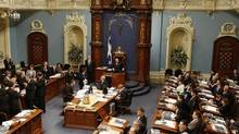 A crucifix is seen over the speaker's chair at the National Assembly in Quebec City in this March 13, 2008 file photo. (MATHIEU BELANGER/REUTERS)