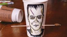 The Frankenstein Fling turns a coffee cup and stir stick into a skill-testing game.